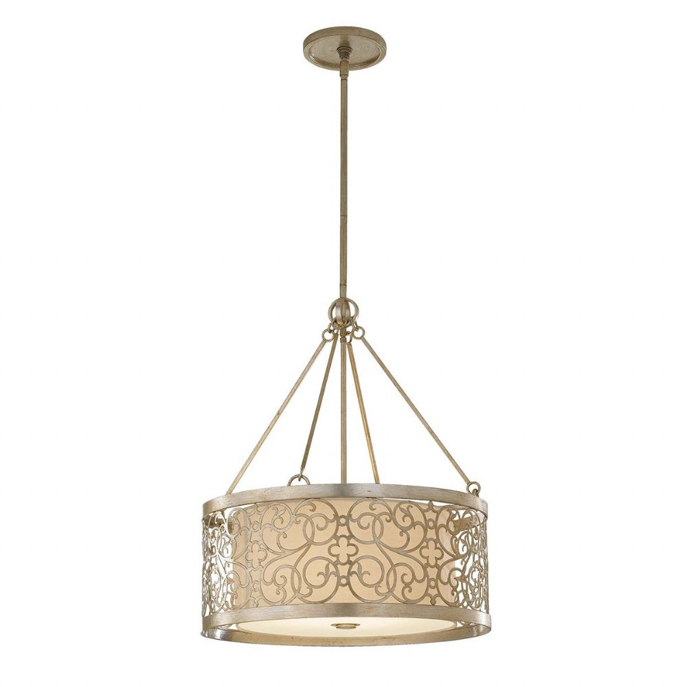 Arabesque 4 Light Pendant In A Silver Leaf Patina Finish